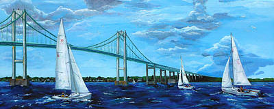 Rhodes Sailing By The Pell Bridge Poster by Pat St Onge
