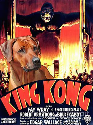 Rhodesian Ridgeback Art Canvas Print - King Kong Movie Poster Poster