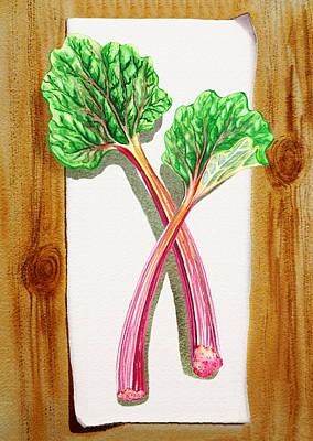 Rhubarb Tasty Botanical Study Poster by Irina Sztukowski