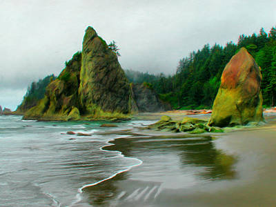 Rialto Beach Sea Stacks Poster