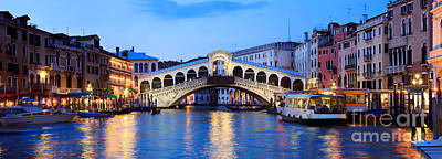 Rialto Bridge At Night Venice Italy Poster
