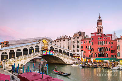 Rialto Bridge At Sunset - Venice Poster