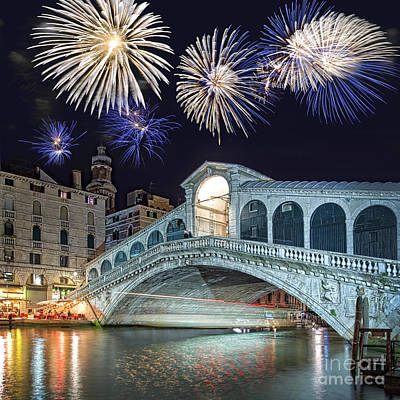 Rialto Bridge Fireworks Poster by Delphimages Photo Creations