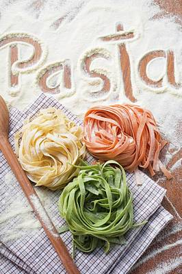Ribbon Pasta In Three Colours Poster