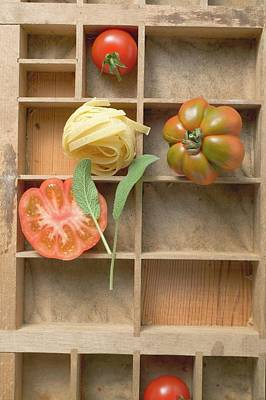Ribbon Pasta, Tomatoes And Sage In Type Case Poster