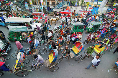Rickshaws In Traffic On A Street Poster by Michael Runkel
