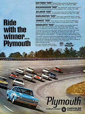 Ride With The Winner... Plymouth Poster by Digital Repro Depot
