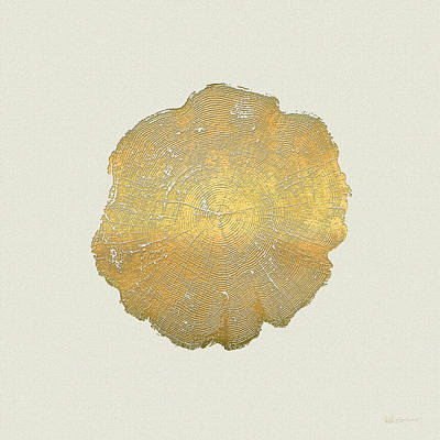 Rings Of A Tree Trunk Cross-section In Gold On Linen Beige Poster by Serge Averbukh