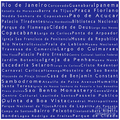 Rio De Janeiro In Words Blue Poster by Sabine Jacobs