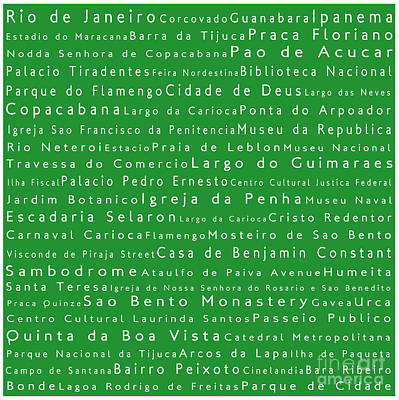 Rio De Janeiro In Words Green Poster by Sabine Jacobs