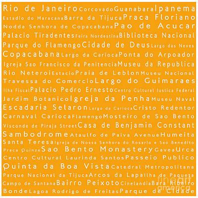 Rio De Janeiro In Words Orange Poster by Sabine Jacobs
