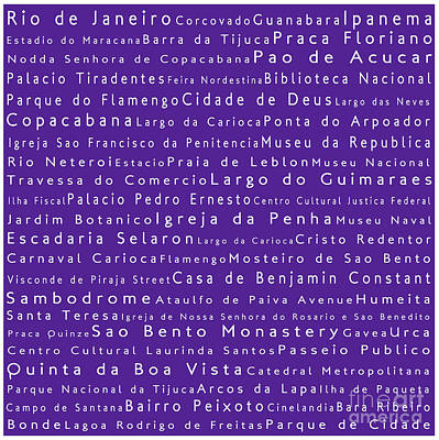 Rio De Janeiro In Words Purple Poster by Sabine Jacobs