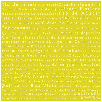 Rio De Janeiro In Words Yellow Poster by Sabine Jacobs
