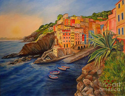 Riomaggiore Amore Poster by Julie Brugh Riffey