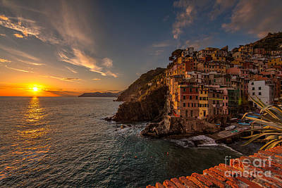 Riomaggiore Sunset Poster by Mike Reid