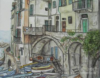 Poster featuring the painting Riomaggoire Cinque Terre Italy by Malinda  Prudhomme