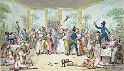 Riotous Scene In A Tavern During The Period Of The French Revolution, C.1789 Wc On Paper Poster by Etienne Bericourt