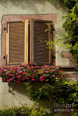 Riquewihr Window Poster by Brian Jannsen