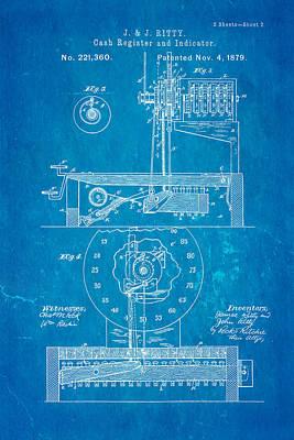 Ritty Cash Register 2 Patent Art 1879 Blueprint Poster by Ian Monk