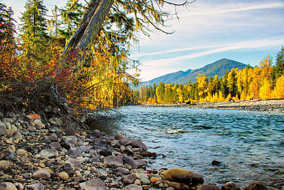 River Bank - Cle Elum River - Washington - October 2013 Poster by Steve G Bisig