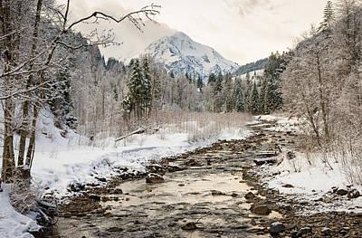 River Breitach In Kleinwalsertal Austria In Winter With Snow Poster