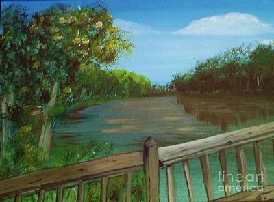 Poster featuring the painting River Deck by Brigitte Emme