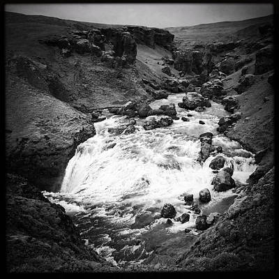 River Landscape Iceland Black And White Poster