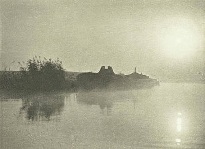 River Landscape In The Mist At Dawn, Peter Henry Emerson Poster