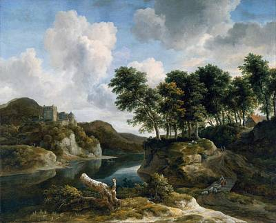 River Landscape With A Castle On A High Cliff Poster by Jacob van Ruisdael