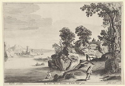 River Landscape With Travelers On Country Road Poster