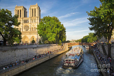 River Seine And Cathedral Notre Dame  Poster by Brian Jannsen