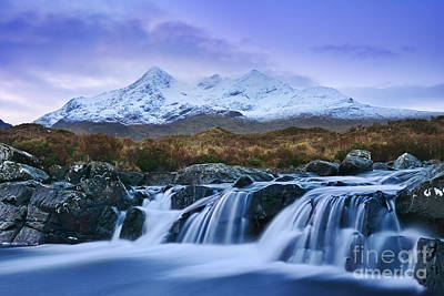Waterfall And The Cuillins Poster by Rod McLean