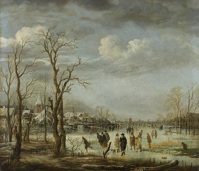 River View In The Winter, Aert Van Der Neer Poster by Litz Collection