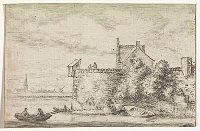 River View With A Rampart, Print Maker Hendrik Spilman Poster by Hendrik Spilman