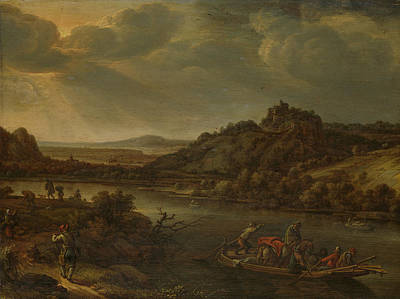 River View With Ferry, Herman Saftleven Poster by Litz Collection