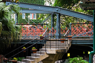 River Walk Staircase And Bridge Poster by Ed Gleichman