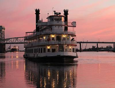 Poster featuring the photograph Riverboat At Sunset by Cynthia Guinn