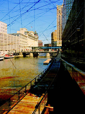 Riverwalk And Painted Board Poster
