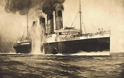 Rms Lusitania Being Torpedoed Poster