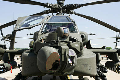 Rnlaf Apache Ah-64d Helicopter Gunship Front End Close Up Poster by Joe Fox