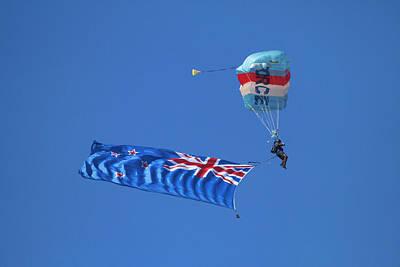 Rnzaf Sky Diver And New Zealand Flag Poster