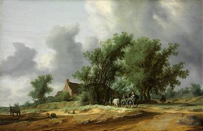 Road In The Dunes With A Passanger Coach Poster by Salomon van Ruysdael