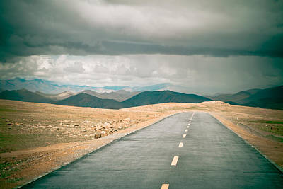 Road To Himalyas In Tibet Poster by Raimond Klavins