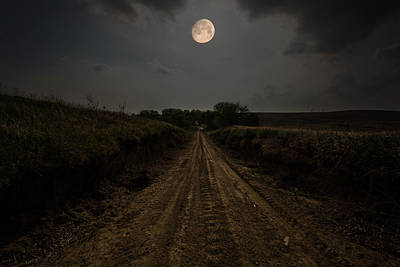 Road To Nowhere - Waxing Gibbous Moon Poster by Aaron J Groen