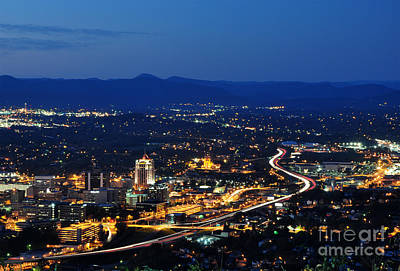 Roanoke City As Seen From Mill Mountain Star At Dusk In Virginia Poster