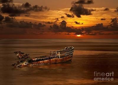 Roatan Shipwreck Poster by Shirley Mangini