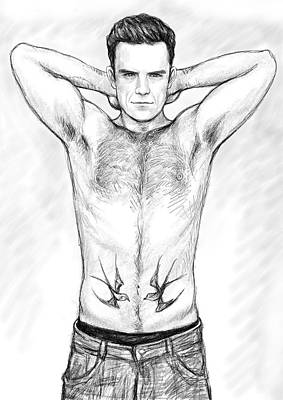 Robbie Williams Art Drawing Sketch Portrait Poster by Kim Wang