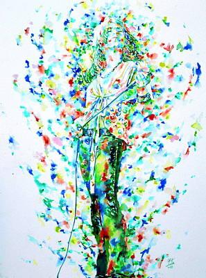 Robert Plant Singing - Watercolor Portrait Poster by Fabrizio Cassetta
