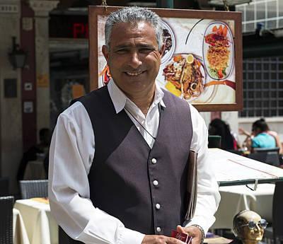 Roberto At Ristorante Pedrocchi Venice Italy Poster by Sally Rockefeller