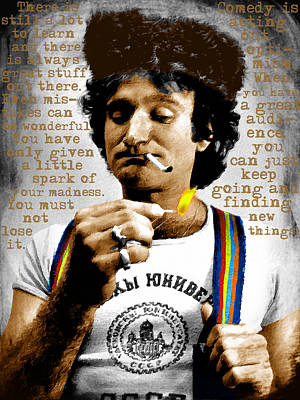 Robin Williams And Quotes Poster by Tony Rubino